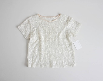 cream lace blouse | stretch lace top | 90s lace top