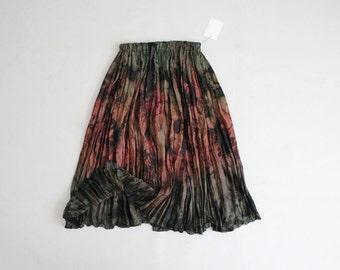 crinkled silk tie dye skirt | vintage silk skirt