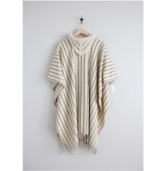 striped wool poncho | collared poncho cape | cream