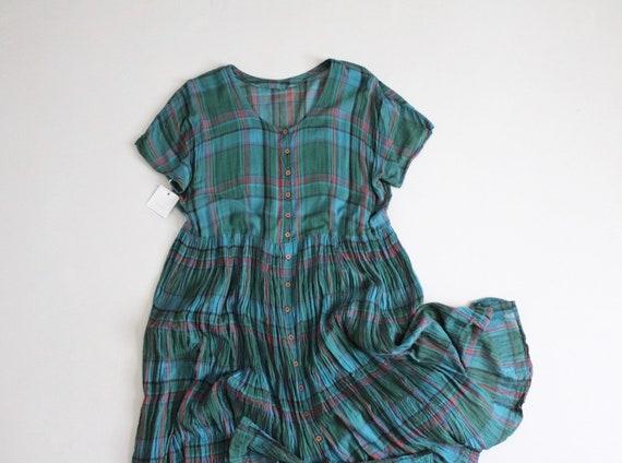 plaid gauze dress | 100% cotton gauze dress | gree