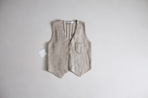oatmeal silk vest | cropped knit vest | silk & ang