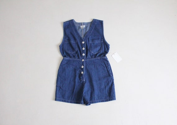 sleeveless denim romper | denim romper shorts | vi