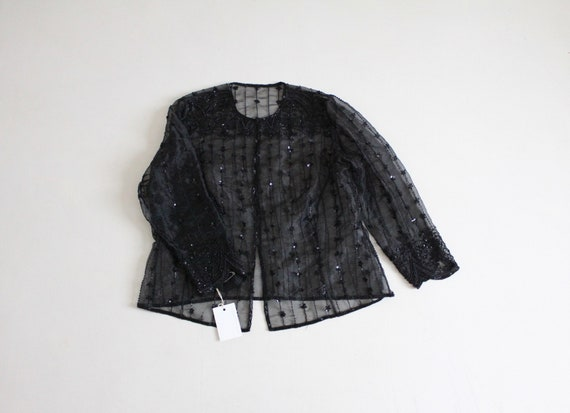 beaded organza jacket | black beaded jacket | shee