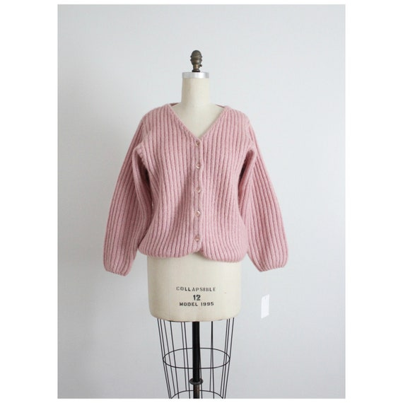 dusty rose sweater | fuzzy mohair cardigan | pink… - image 4