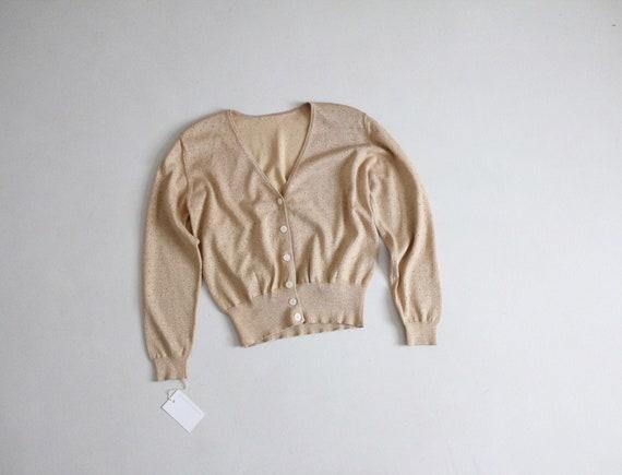 gold pointelle cardigan | metallic gold sweater |