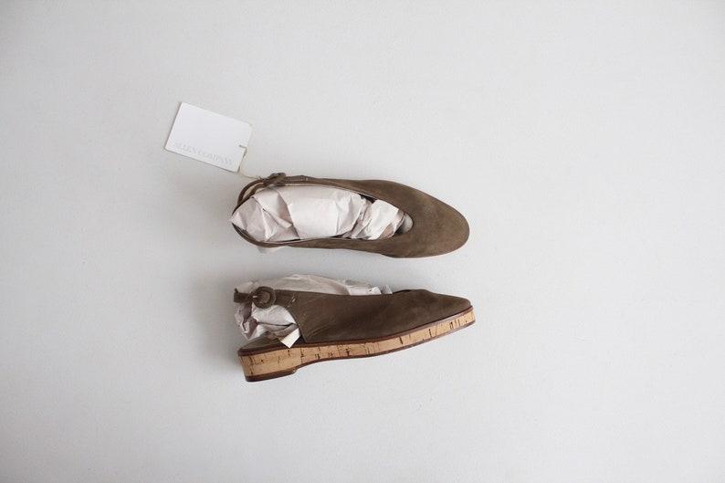 ebb38fb4382 Olive drab sling backs cork sandals 6 green leather flats