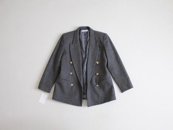 gray wool blazer | double breasted blazer | croppe