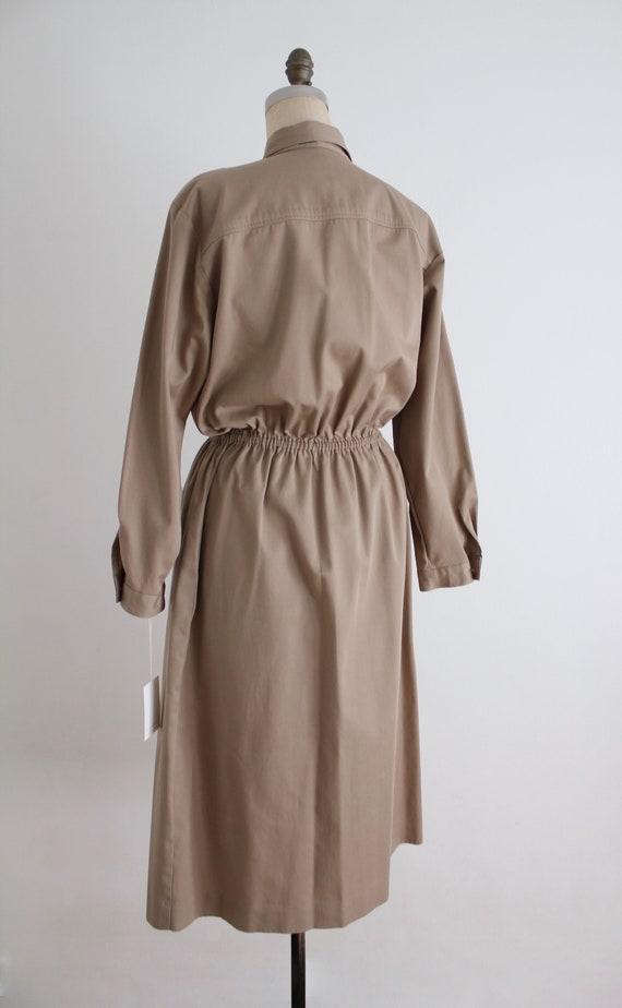 tan cotton shirtdress | button down dress | colla… - image 6