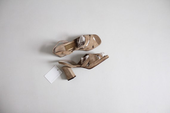 suede block heels 8 | strappy taupe heels 7.5 | sq