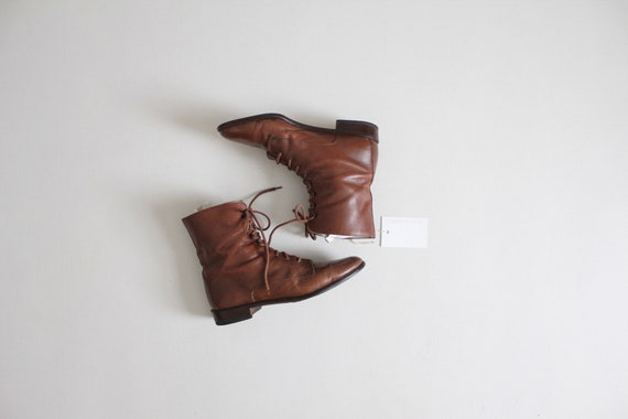lace up boots 9 | size 9.5 ankle boots | brown ank