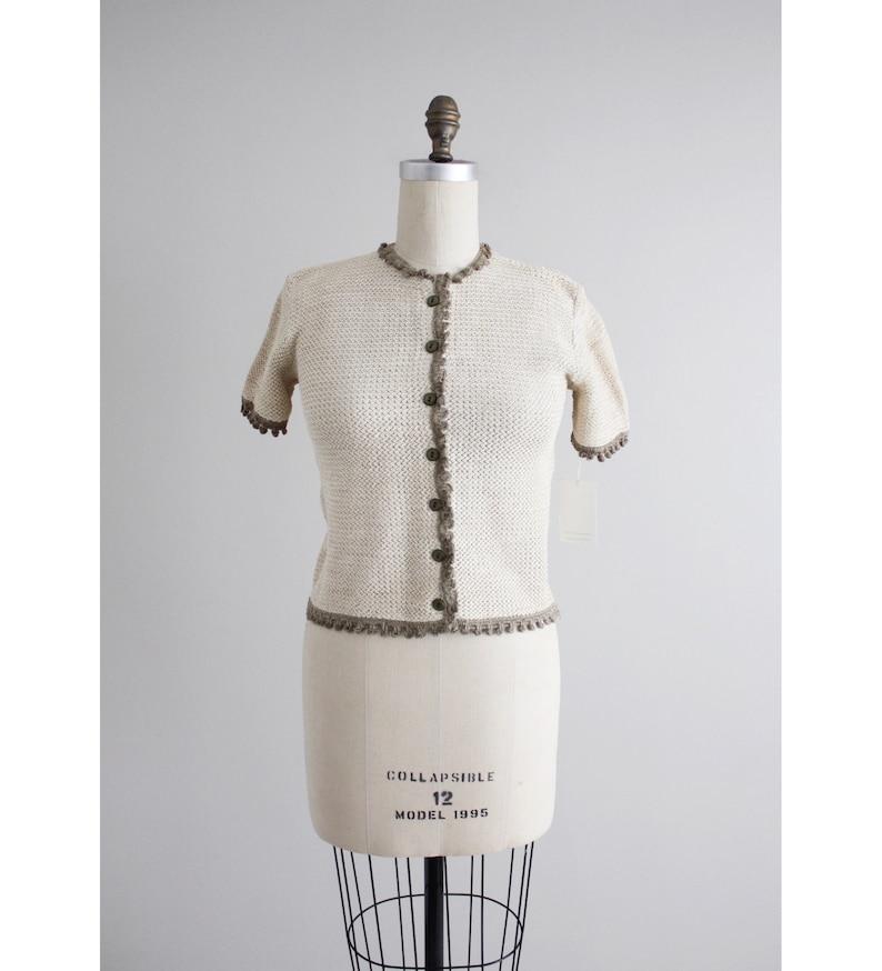 beige linen blouse 1950s blouse woven linen blouse
