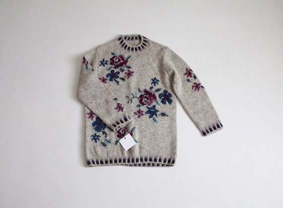 floral wool sweater | floral print sweater | gray