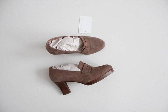 taupe leather heels   platform heels 7.5   penny l