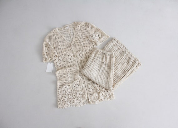 cream crochet outfit | vintage 1970s crochet dress