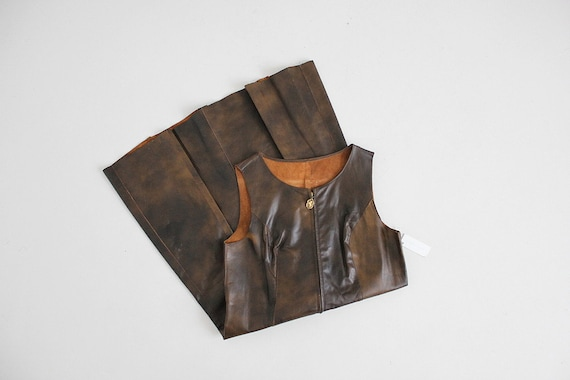 marbled leather dress | zip up dress | brown leath