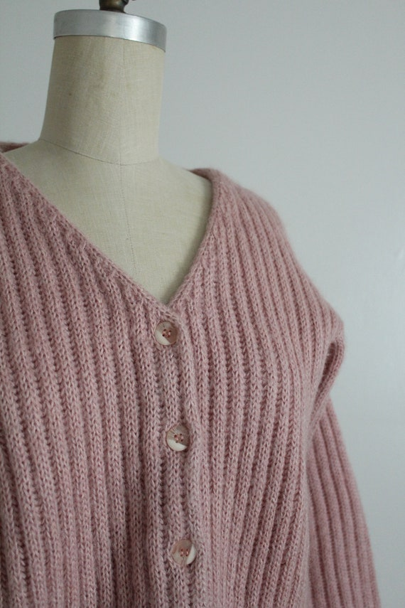 dusty rose sweater | fuzzy mohair cardigan | pink… - image 6