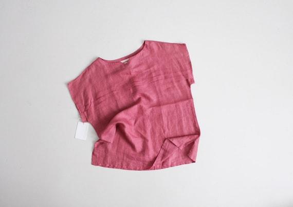 mauve linen blouse | pleated blouse | pink linen t