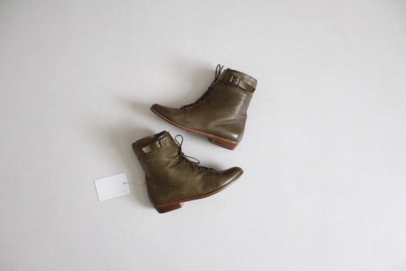 olive leather boots 6 | high ankle boots | green l