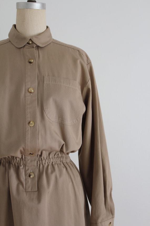 tan cotton shirtdress | button down dress | colla… - image 2