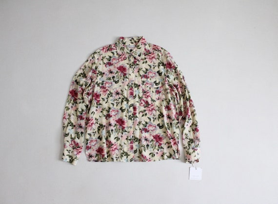floral silk blouse | vintage silk top | silk flora