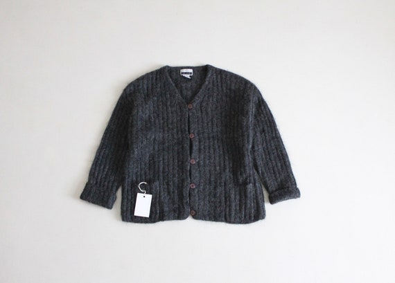 charcoal mohair sweater | gray ribbed cardigan | f