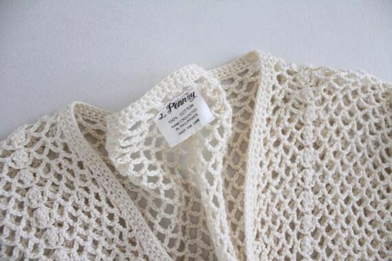 cream crochet outfit | vintage 1970s crochet dres… - image 6