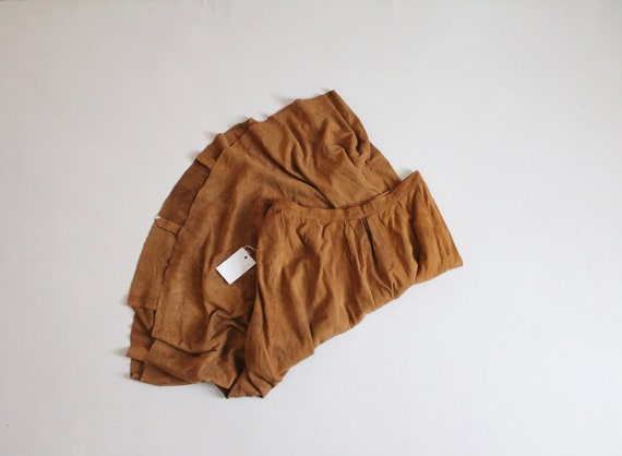 suede leather skirt | rust suede skirt | full leat
