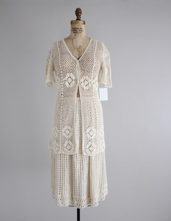 cream crochet outfit | vintage 1970s crochet dres… - image 3