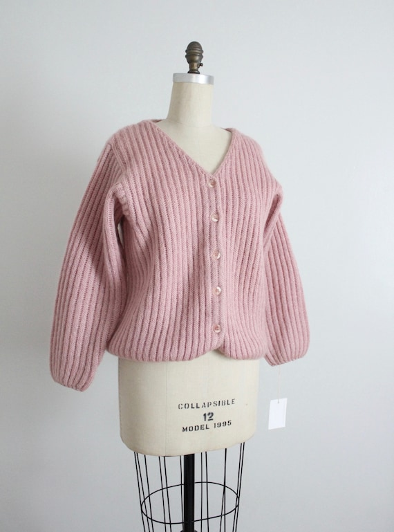 dusty rose sweater | fuzzy mohair cardigan | pink… - image 7