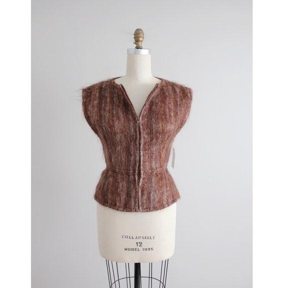 mohair zip up vest | fuzzy wool sweater vest | bro