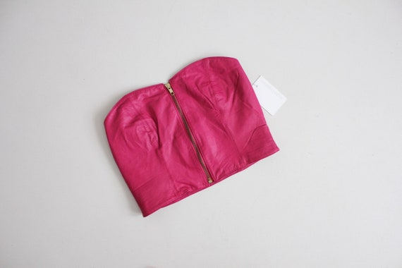 cerise pink leather bustier | zip up bustier top |
