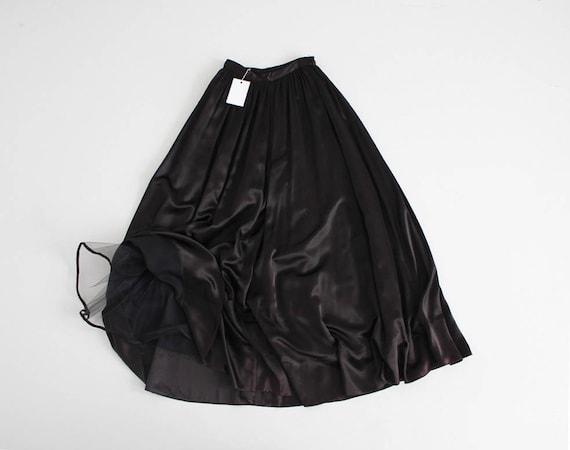 full black maxi skirt | black evening skirt | shin
