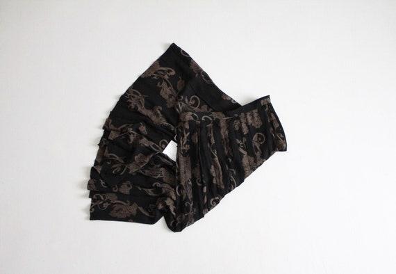 black floral skirt | sheer floral midi skirt | lon