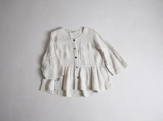 ivory linen blouse | linen poet blouse | ruffle sl