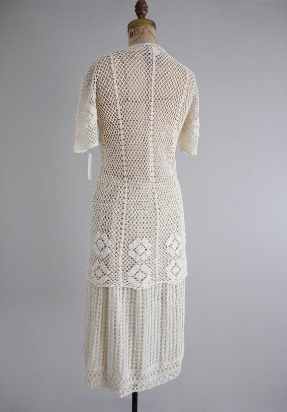 cream crochet outfit | vintage 1970s crochet dres… - image 4