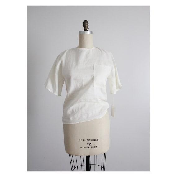 white pocket blouse | white ramie blouse | cream t