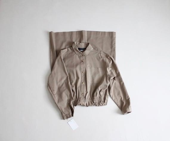 tan cotton shirtdress | button down dress | collar