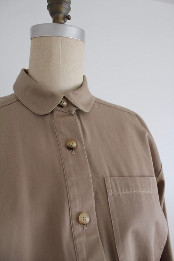 tan cotton shirtdress | button down dress | colla… - image 5