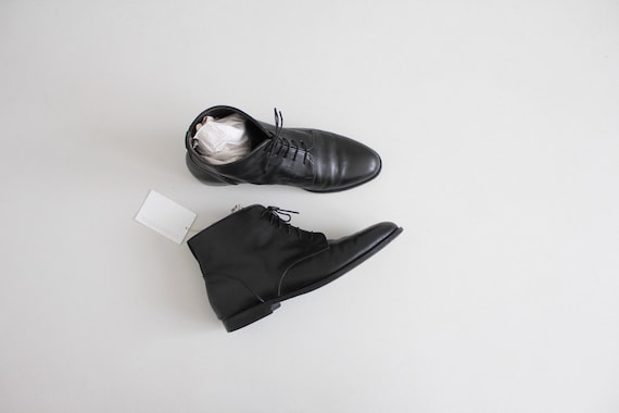 mens black leather boots 10.5 | black ankle boots