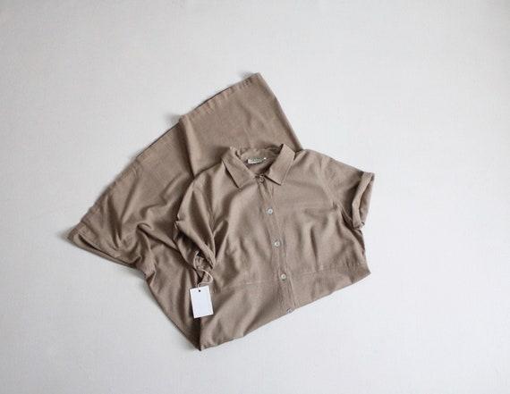 taupe silk dress | long silk dress | button down d