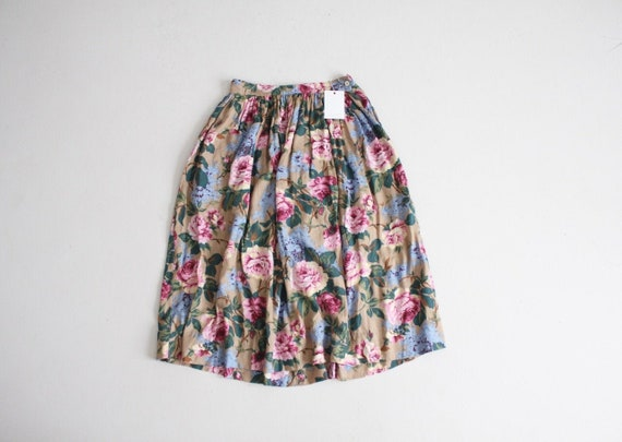 full floral skirt | pink floral skirt | floral mid