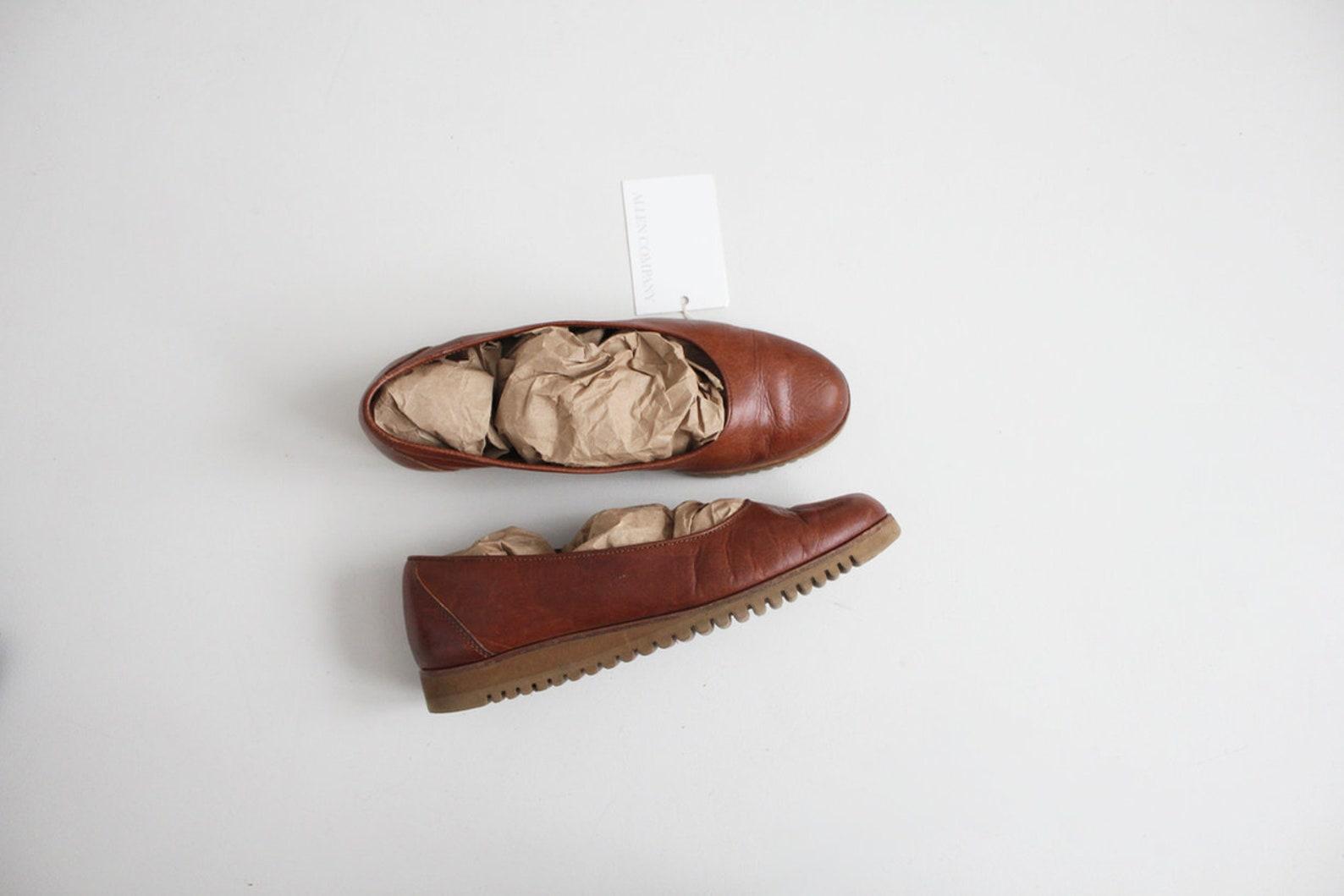 platform ballet flats | ballet flats 8.5 | brown leather flats