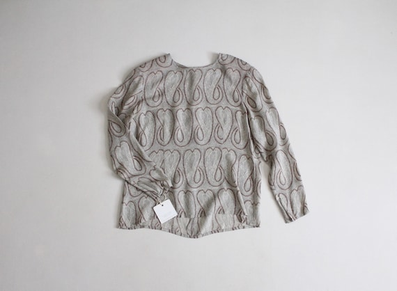 silk paisley blouse | gray silk blouse | vintage s