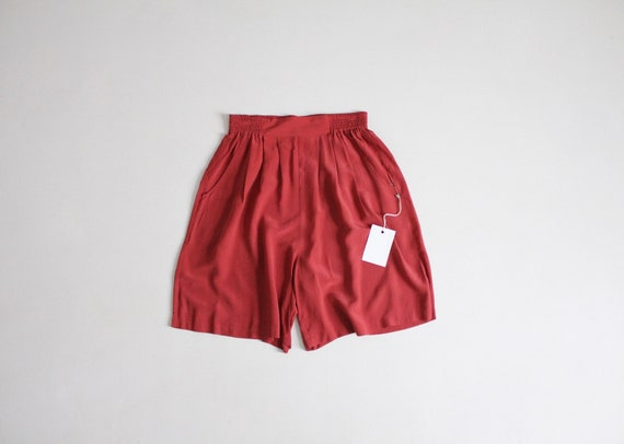 brick red shorts | flouncy silk shorts | pleated r