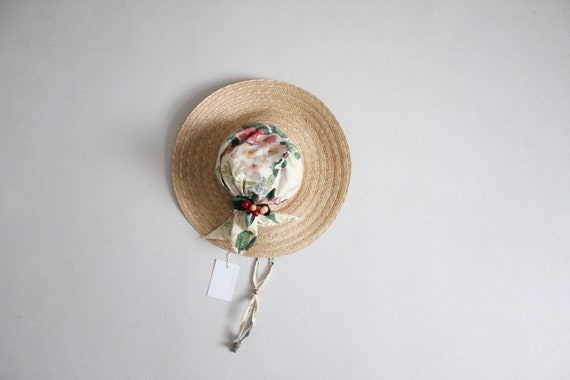 chintz floral sunhat | vintage floral hat | wide b