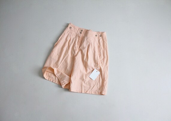 shell pink shorts   vintage cotton shorts   high w