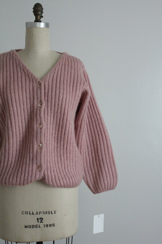dusty rose sweater | fuzzy mohair cardigan | pink… - image 2