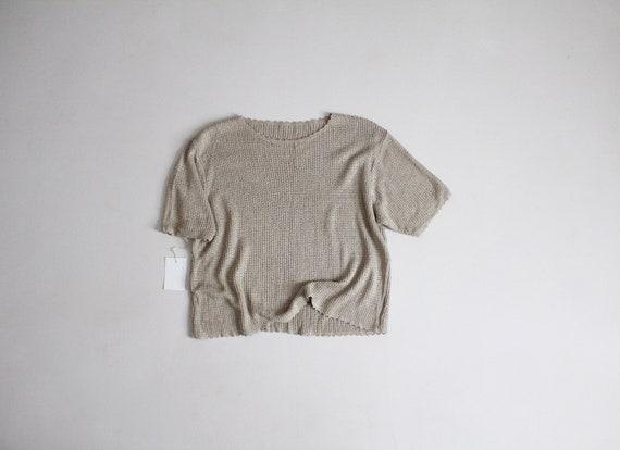 beige silk top | silk pointelle sweater | silk kni