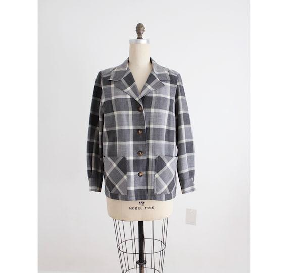 plaid wool jacket   gray plaid coat   wool plaid j