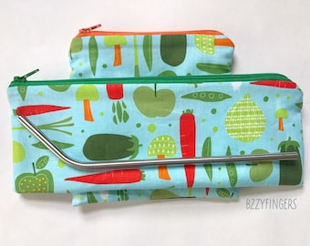 Reusable Snack Sack and Utensil Pouch with Stainless Steel Straw / Garden Vegetable Print